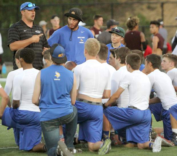 South Tahoe coach Louis Franklin addresses the Vikings during the Lake Tahoe Football Camp on June 28.