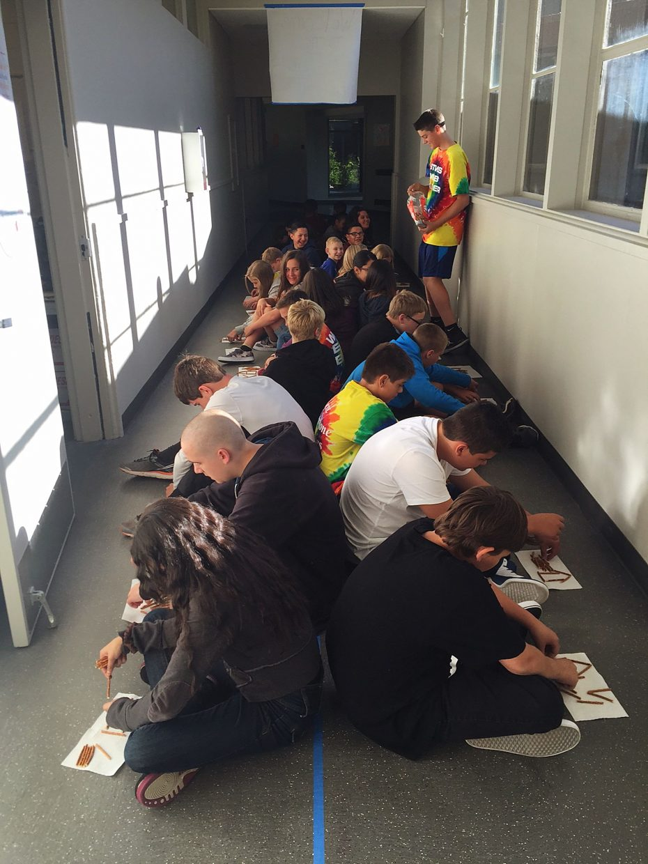 "South Tahoe Middle School students participate in an activity as part of WEB (""Where Everyone Belongs""). The leadership program welcomes sixth graders to the school with tours and partnership with older students."