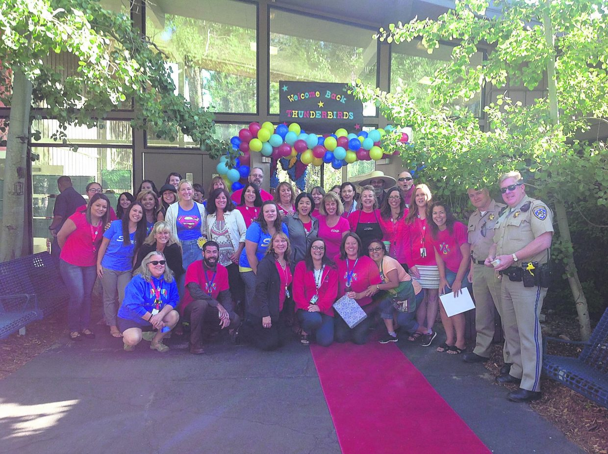 Tahoe Valley Elementary staff pose for a photo on the first day of school.