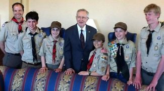 Scoutmaster Dr. Patrick Martin, from left, scouts Hilton Atherton and Tyler Martin, Senate Majority Leader Harry Reid, scouts Dylan Martin, Nathan Griffith and Quinn Kixmiller are shown in April during a troop trip to Washington, D.C.