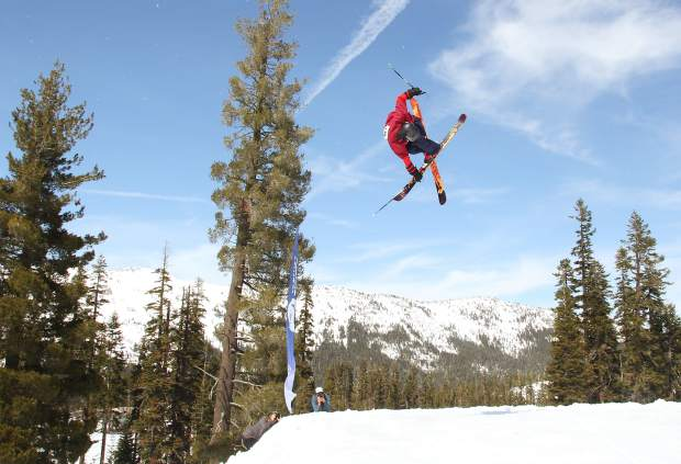 Amateur skiers and snowboarder from the area spent Saturday, March 26, airing off of terrain park features at Sierra-at-Tahoe Resort as part of the mountain's annual Buckle Up Big Air competition.