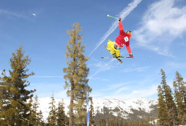 Amateur skiers and snowboarders from the area spent Saturday, March 26, airing off of terrain park features at Sierra-at-Tahoe Resort as part of the mountain's annual Buckle Up Big Air competition.