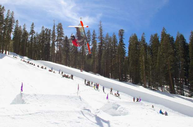 A skier goes inverted during in front of a crowd during competition at Sierra-at-Tahoe. The annual Buckle Up Big Air Competition featured a $1,200 cash purse with a portion of proceeds benefiting the Sierra-at-Tahoe Education Foundation.