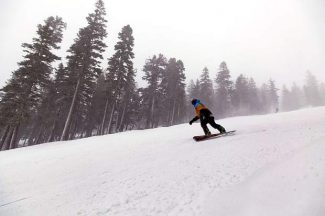 A tiny storm hit the Lake Tahoe region on Saturday, bringing roughly 2 to 4 inches of snow at higher elevations at at ski resorts such as Northstar California, seen here.