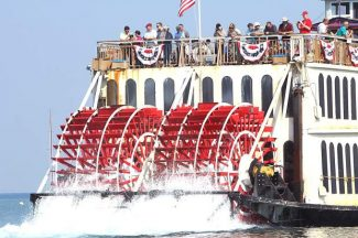 Passengers leave the dock Friday at Ski Run Marina aboard the Tahoe Queen sternwheeler. The 2013 Great Lake Tahoe Sternwheeler Race starts today at 11 a.m. at Edgewood Tahoe.