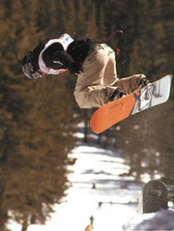 Jim Grant/Tahoe TribuneAnthony Facciano of Sierra-at-Tahoe competes in the slopestyle during a South Tahoe Snowboard Series event Saturday at Sierra.