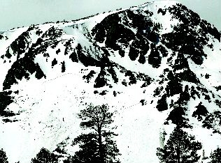 Jim Grant / Tahoe Daily Tribune /  Avalanches can be seen on the south-facing slopes of Mount Tallac.