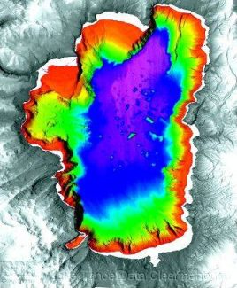 Scientists believe shoreline at Carnelian Bay, the light green area on West Shore, once slid into Lake Tahoe, sending chunks of land into the lake. The chunks are visible as light blue spots in the middle of the map. / U.S. Geological Survey