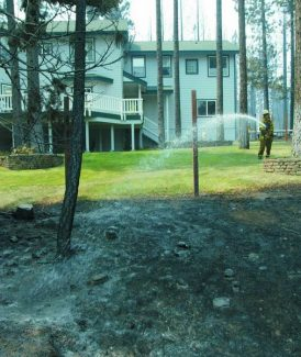 Emma Garrard / Sierra Sun /  Dave Fichter, a Truckee Fire Protection District Firefighter, sprays water around a home in Mountain View Estates after the surrounding homes are destroyed by the Angora Fire. The home was protected because of defensible space.