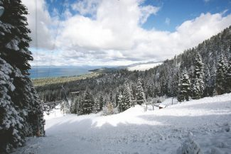 Adam Jensen / Tahoe Daily TribuneSnow covers Heavenly Mountain Resort's World Cup run Monday morning. Sunday's storm left almost three inches of snow at lake level, while Heavenly reported receiving a foot of snow at higher elevations.