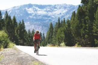 A bicyclist rides east on Lake Tahoe Boulevard in 2011.