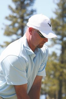 Douglas Etten / Tahoe Daily TribuneTrent Dilfer spent a good amount of time honing in his golf game, both on the range and on the course at Edgewood Tahoe Thursday. He is one of many professional athletes set to compete in next months American Century Championships.