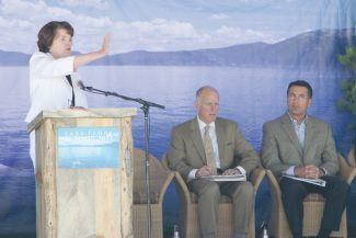 Adam Jensen / Tahoe Daily TribuneU.S. Senator Dianne Feinstein, left, addresses attendees to the 15th Annual Lake Tahoe Summit at Homewood Mountain Resort Tuesday. Seated to her right are California Gov. Jerry Brown and Nevada Gov. Brian Sandoval.