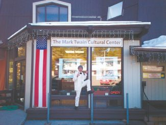 """McAvoy Layne, seen above as a windowpane and the """"Ghost of Twain,"""" said his cultural venue in Incline's Village Center will close at the end of the month."""