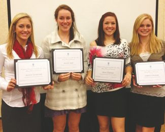 Four students at George Whittell High School, Jillian Dauscher (from left), Megan Mize, Nina Jimenez and Sabrina Swoger, were recently named Young Women of Distinction by Soroptimist International of South Lake Tahoe.
