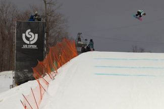 Provided to the TribuneJamie Anderson spins over a jump at the U.S. Open in Stratton Vermont Friday.