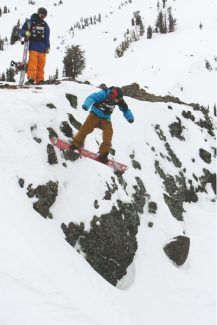 Adam Jensen / Tahoe Daily TribuneA competitor in The North Face Masters drops a cliff near Lookout Vista Friday.