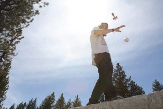 Dylan Silver / Tahoe Daily TribuneTurner Thorne spins his kendama near Lakeview Commons Monday. Thorne has gained national acclaim as one of the best in the country at the Japanese pastime.