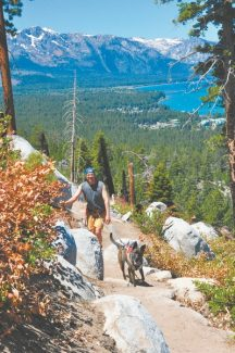 Tim Parsons / Lake Tahoe ActionFresh off hip surgery and wearing a new pair of Five Finger Vibram shoes, Steve Shaver of South Lake Tahoe walks his dog Sparky on a Van Sickle Bi-State Park trail which connects to the Tahoe Rim Trail. While the hike is moderate, building the trail has been one of the more difficult projects for TRTA volunteers.