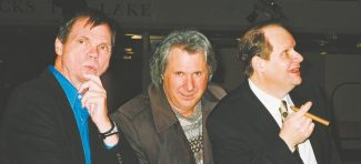 """The faces of comedy at Harveys Improv: Larry """"Bubbles"""" Brown (left), host Howie Nave and Bob Zany."""