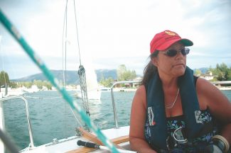 Axie Navas/Tahoe Daily TribuneErin Esposito, an instructor at the Women's Sailing Clinic this Saturday, guides a sailboat out of the bay for a Wednesday Tahoe Windjammers Yacht Club Beer Can Race.