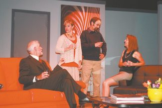 "David Hamilton, left, Ginger Nicolay-Davis, Brett Robinson and Diana Evans star in ""God of Carnages,"" which will be performed this week at the Valhalla Boathouse Theater."