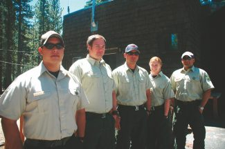 Axie Navas / Tahoe Daily TribuneThe U.S. Forest Service Meeks Bay Fire Station crew poses outside their base. From left to right: Jorge Alcaraz-Lopez, Matt Read, Jeff Dube, Lindsey Dubs and David Deleon.
