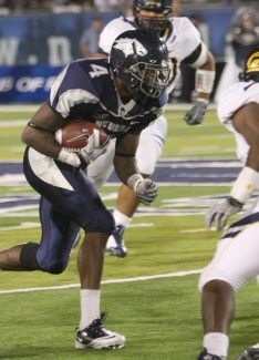 John Byrne/University of Nevada Media ServiceBrandon Wimberly slips through the defense in a 2010 game against University of California, Berkeley. Wimberly was sidelined in the 2011 season after he was shot in Reno. The wide receiver will be back on the playing field this season for the Wolf Pack.