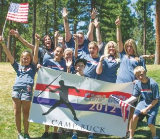 Submitted to the TribuneBottom row: Kelsey Buckley, from left, McKenzie McMillen, Anna Mendoza, Kasey Mora, Mckenna Brewer, Logan Taylor; top row: counselor Brook Linnell, Tara Winkleman assistant camp director Angela Aguirre and her daughter, Aurora Gooch, are shown at Camp Buck.