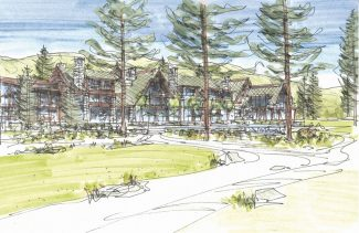 Special to the TribuneA rendering of the proposed Edgewood Tahoe Lodge's exterior with the pool terrace.