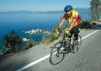 Jim Grant / Tahoe Daily Tribune fileA cyclist pedals along the East Shore while riding in the Tour de Tahoe in 2006. This year marks the 10th anniversary of the 72-mile clockwise ride around the lake.
