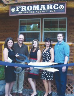 TahoeChamber.orgTita, Bob and Justine Anderson, Ann Zion and Brady Ward of Fromarc Insurance Agency Inc. cut a ribbon Thursday, Sept. 27, during a ceremony celebrating the business' 27th anniversary.