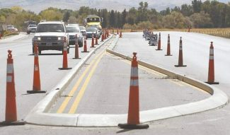 Shannon LitzThe center lane of Highway 395 looking south near Service Drive on Friday.