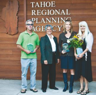 Provided by TRPATahoe Regional Planning Agency Executive Director Joanne Marchetta, second from left, is shown with 2012 Lake Spirit Award winners John Dayberry of Paddle Fest and the World Canoe Project, from left, Heather Segale of the Tahoe Environmental Research Center and the University of California, Davis, and Jacquie Chandler of Sustainable Tahoe and the Tahoe Expo.