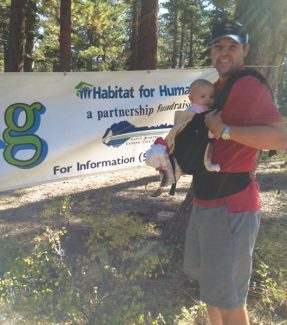 Photo by Francie AllingHiker Mark Bisbee and his daughter Adi are shown Sept. 15 during the Hike for Housing.