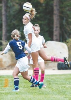Courtesy of Boyd Dangtongdee Skylar Smith heads the ball in Whittell's home game against North Tahoe Thursday. The girls tied 1-1.