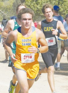Courtesy of Michele Nesbitt-Westlake Patrick Simac powers through the boys junior varsity 3.1-mile run at the Clovis Invitational Saturday. Simac finished first among South Tahoe JV boys.