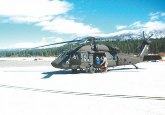Axie Navas / Tahoe Daily TribuneA California Army National Guard helicopter prepares to take off to search for a missing hiker in Desolation Wilderness on Thursday.