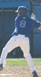 Courtesy of Kevin Higgins Dominic Diana eyeballs a pitch during the Blujacks double header against Douglas last weekend.