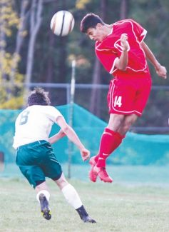 Courtesy of Boyd Dangtongdee Rodney Aguirre-Rodriguez goes up for the header during Whittell's Northern Division III Championships against Incline on Saturday. The boys lost 3-0, but are regional runnner-ups and secured a trip to state with 8-2 win against Yerington on Friday.
