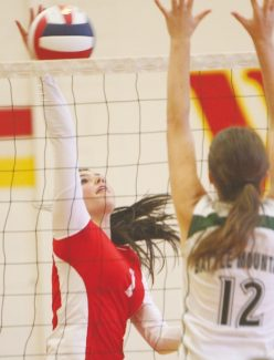 Becky Regan / Tahoe Daily Tribune Tori Jimenez slams the ball over the net as the girls defeated Battle Mountain in quarterfinals Friday at home. Jimenez led the team with three aces and also collected two kills.