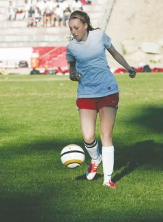 Courtesy of Boyd Dangtongdee Senior Sierra Forvilly keeps her eye on the ball during a home game in September. The defender was named first team All-League.