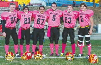 Courtesy of Boyd Dangtongdee The results are in, and seniors Cody Gibson, Ty Sprock, Kody Dangtongdee, Austin Buyak, Garrett Bronken, and Hughston Norton all made the All-League cut. The Warriors wore pink jerseys for their final home game against ROP on Oct. 25 in support of athletic director Kathy Bluethman's battle with breast cancer.