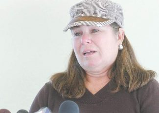 Shannon Litz / Nevada AppealPaula Lane's sister, Linda Hathaway, speaks at a press conference at Carson Tahoe Regional Medical Center on Thursday afternoon.