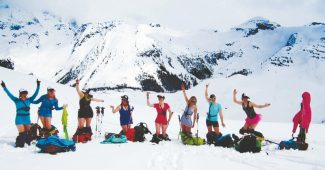 Courtesy of SheJumps The ladies of SheJumps met up in Canada last season for Alpine Finishing School hosted by the American Mountain Guides Association. SheJumps is a free organization with the mission to increase female participation in outdoor activities.