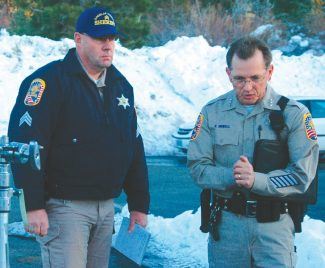 Axie Navas / Tahoe Daily TribuneSgt. Pat Brooks and Douglas County Undersheriff Paul Howell held a press conference late Thursday afternoon.