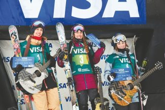 Sarah Brunson / U.S. Freeskiing From left to righ: Rosalind Groenewoud (second), Maddie Bowman (first) and Brita Sigourney (third) hit the podium after the women's halfpipe finals at the 2013 Visa U.S. Freeskiing Grand Prix at Copper Mountain on Jan. 11.