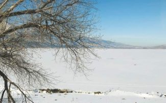 Jim Grant / Nevada AppealA frozen Washoe Lake is covered with a blanket of snow. Temperatures hit the negative numbers early Monday morning in Northern Nevada.