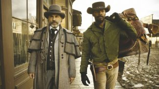 Christoph Waltz and Jamie Foxx, as Django, buddy up to rescue Django's wife and cause mayhem in the Old West.
