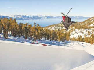 Courtesy of Heavenly Mountain Resort Heavenly's High Roller Freeride Team rider Kyle Smaine christened Heavenly's new halfpipe Jan. 19, making massive tricks look easy off its 18-foot walls.